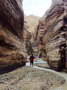 Fluss zwischen rotvioletten Sandsteinwänden