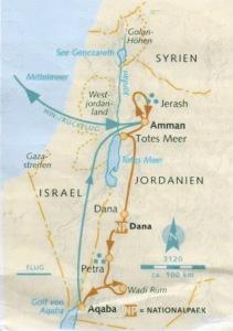 Übersichtskarte unserer Jordanien-Reiseroute.