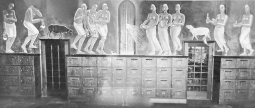 """""""Die 5 klugen und die 5 törichten Jungfrauen"""" –Wandfries von Anita Rée für die Hauswirtschaftsschule in der Uferstraße"""